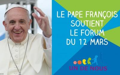 Le pape François soutient le Forum UN DE NOUS
